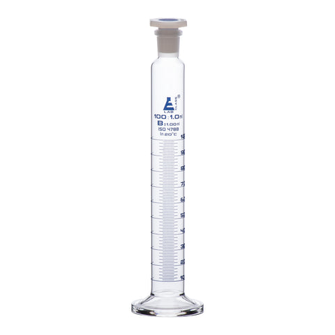 Cylinder Measuring Graduated, cap. 100ml., class 'B', glass round base with spout, complete with interchangeable polypropylene stopper, borosilicate glass