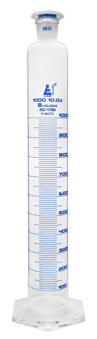 Cylinder Measuring Graduated, cap. 1000ml., class 'B', glass round base with spout, complete with interchangeable polypropylene stopper, borosilicate glass