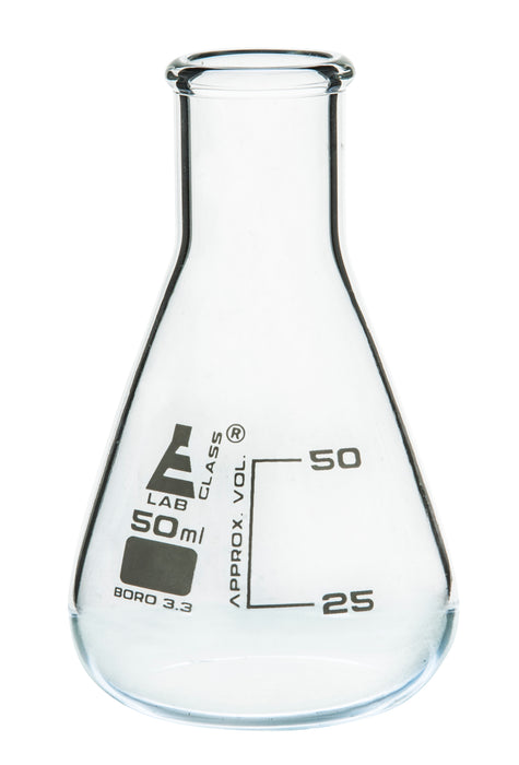 Eisco Labs Glass Erlenmeyer Narrow Neck Flask 50ml, borosilicate, Pack of 12