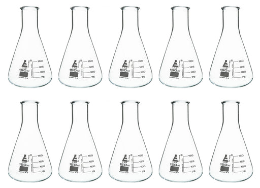 Eisco Labs Glass Erlenmeyer Narrow Neck Flask 150ml, borosilicate Pack of 10