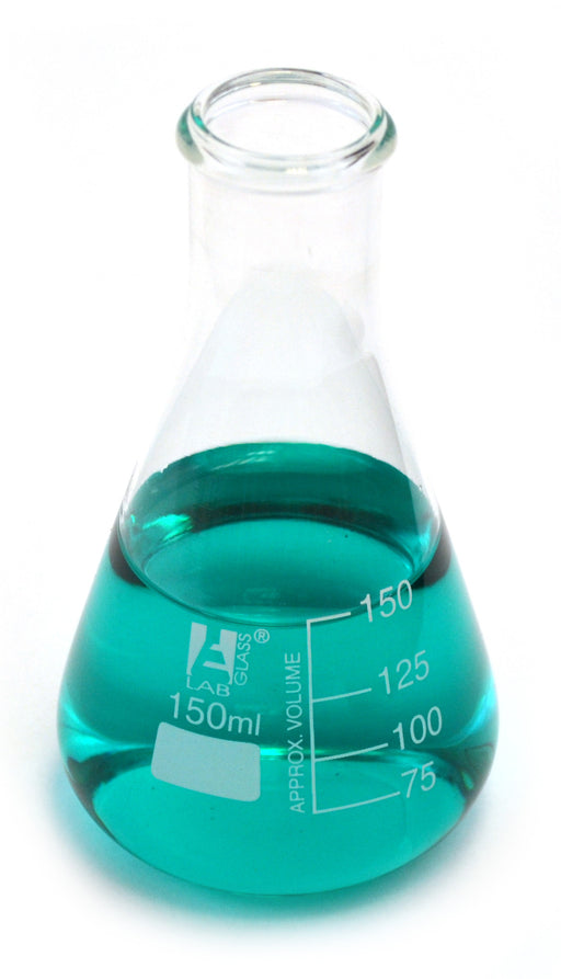 Eisco Labs Glass Erlenmeyer Narrow Neck Flask 150ml, borosilicate Pack of 12