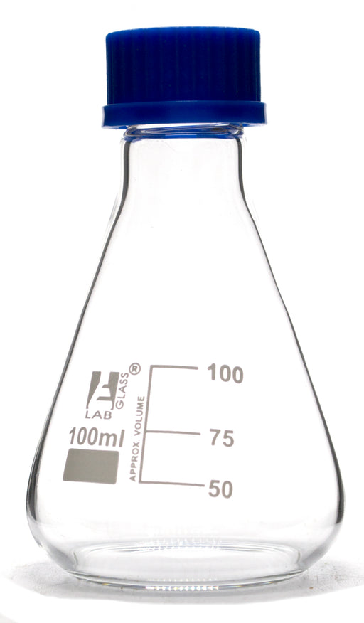Flask Conical 100ml, Erlenmeyer, with Teflon liner screw cap, borosilicate glass