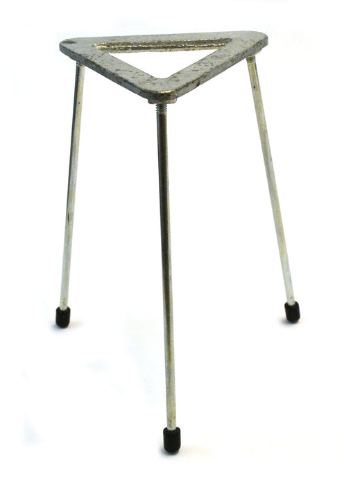 Tripod Stand - Triangular, Zinc plated cast iron top, OD 12cm, height 21cm.