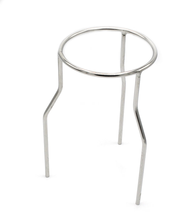 Stand Tripod - Circular, made of steel wire, nickel plated, Ring OD 120mm, height 210mm