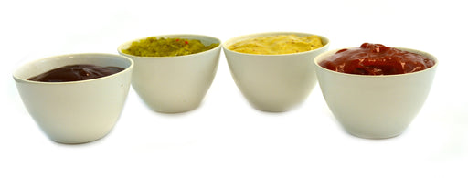 Porcelain Condiment Sauce Dip Bowl Servers - Set of 4 with lids - Holds approx 5 oz