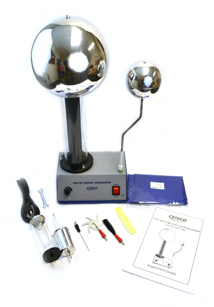 400,000 Volt Van De Graaff Kit with 10 electrostatic attachments. - hBARSCI