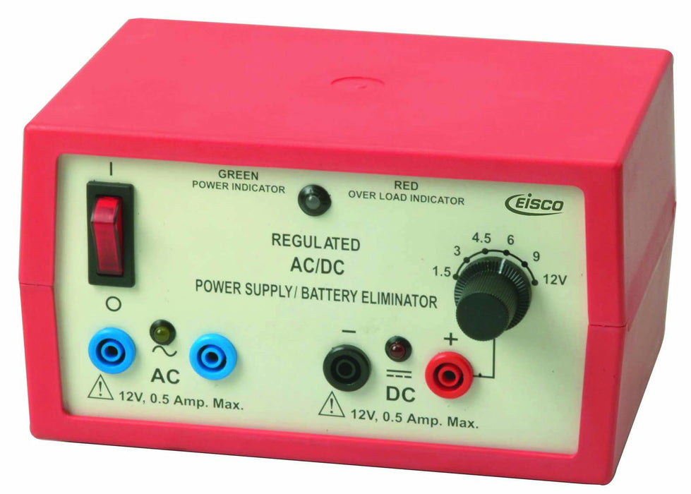 AC/DC Regulated Power Supply, 2 Independent Outputs, 6 defined voltages up to 12V, 500mA - hBARSCI