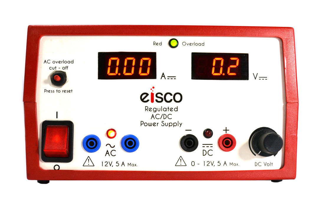 Eisco Labs Regulated Dual Output Digital Display Power Supply, AC: 12V, 5 Amps, DC: 0-12V, 5Amps