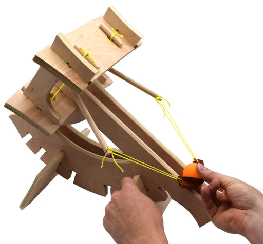 Ballista Catapult - DIY Kit - Explore Torsion Springs, Force, Energy Transformation, Mechanical Advantage, and Projectile Motion - No Tools Required - Eisco Garage Physics