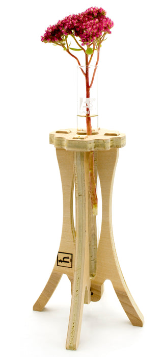 "Wooden Bud Test Tube Vase Stand Made in America 12"" Tall x 5.5"" Wide, Unfinished American Birch Plywood"