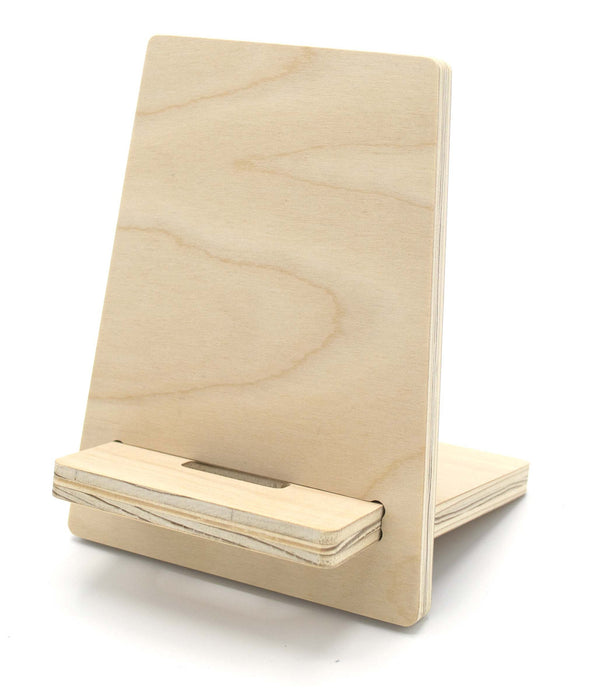 Smart Phone Desk Stand - 7 inches tall, Unfinished, Made of Pure Bond Birch Veneer Plywood, Made in U.S.A.