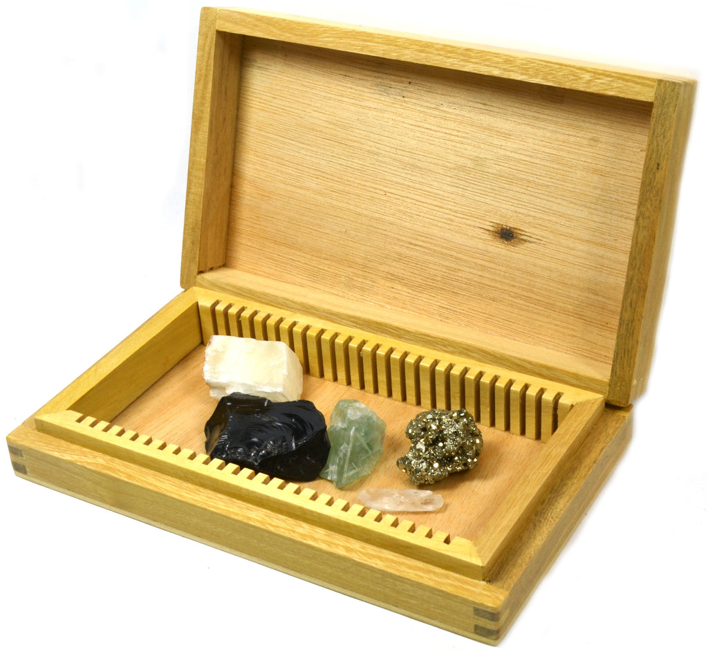 "Pirate's Booty - Set of 5 Rock and Mineral Specimens in Wooden ""Chest"" - Fool's Gold, Obsidian, Quartz, Fluorite, and Calcite Crystals"