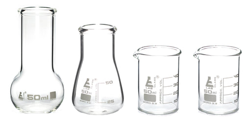 Laboratory Glass Flask and Beaker Shot Glasses - Set of 4 Premium Borosilicate 3.3 Glass Labware - hBAR at Home series