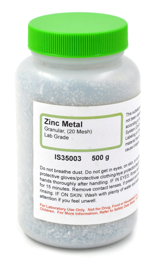 Lab-Grade Granular Metal Zinc, 20 Mesh, 500g - The Curated Chemical Collection