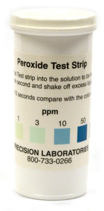 Eisco Labs Low Level Peroxide Test Strips, 0 - 100ppm, Vial of 50