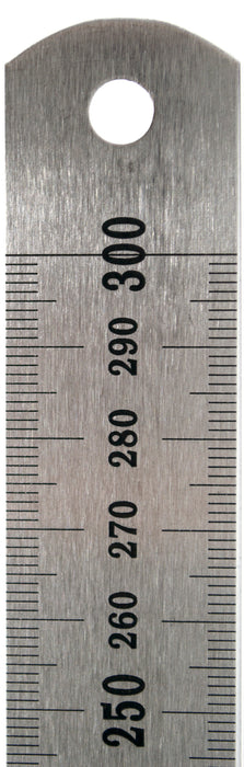 30cm Stainless Steel Ruler with Stamped mm and cm Graduations - Eisco Labs