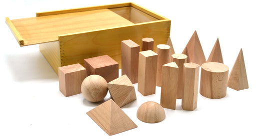 3 Dimensional Geometrical Shape Learning: Set of 19 in Hardwood Case