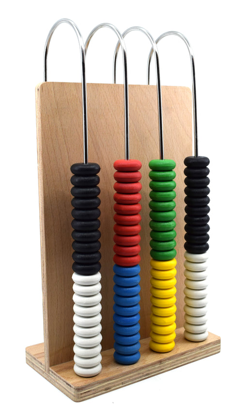 Abacus, 4 U-shaped steel wires, Wooden Frame, Arithmetic Learning and Calculation Tool for students and teachers - Eisco Labs