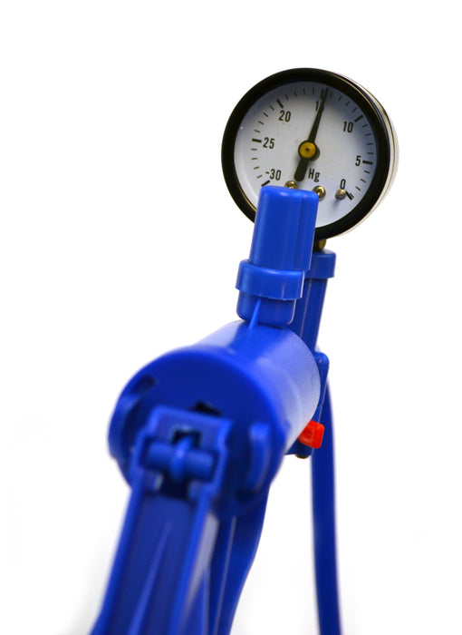 "Blue Hand Held Vacuum Pump with gauge and 19.5"" tube"