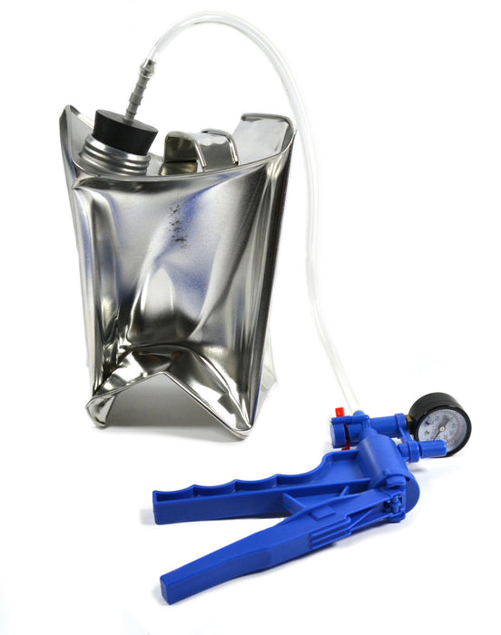Eisco Labs Collapsable Metal Can Demonstration Kit for Demonstrating Ideal Gas Law -Includes Vacuum Hand Pump, Stopper and Hose Fitting