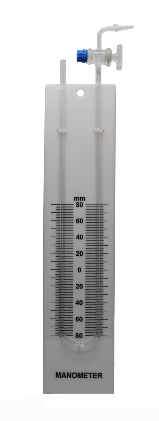 Glass Manometer, U-Tube - Built in Stopcock, Mounted on Back Plate with Printed Scale, 80-0-80 Scale with 2mm Subdivisions - Eisco Labs
