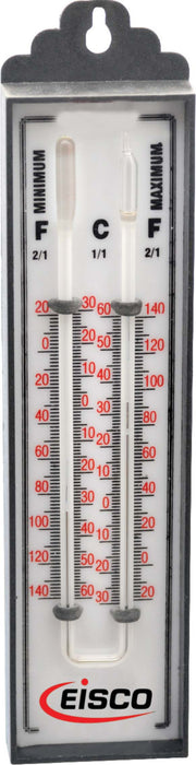Thermometers Maximum and Minimum Six's Double Scale, Mercury Filled, -30 to 60°Cx1°C & -20 to 140°Fx2°F