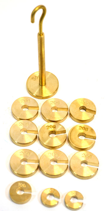 Slotted Weight Set, 250g - Brass - With Hook