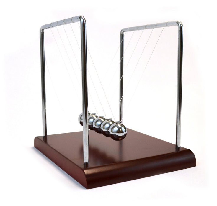 "Eisco Labs Advanced Newton's Cradle with Red Wood Base - 7.25"" Tall, 4.3g Ni Plated Steel Balls, 7""x6"" Base"