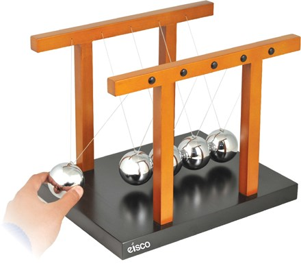 "Giant Newton's Cradle - Completely assembled, Size 12.25"" x 9.5"" x 9.7"" (310 x 240 x 245mm), Ball diameter 50 mm - Eisco Labs"