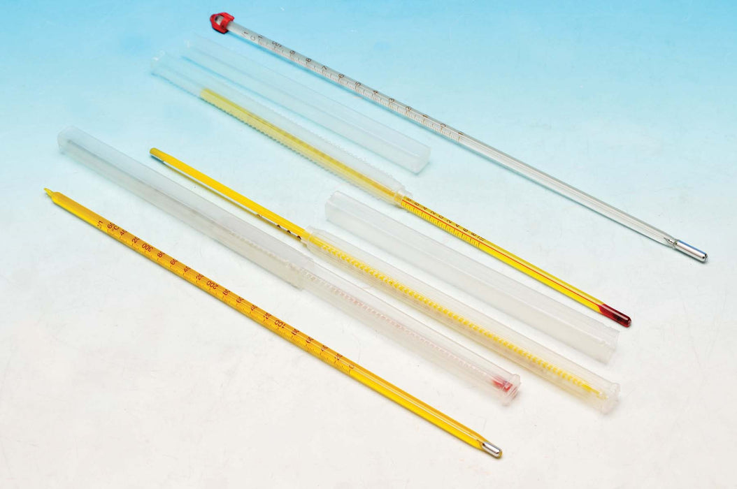 Thermometer Mercury - Red/Blue Spirit filled, -10 to 110°C, Grad. 1°C, Yellow enameled back