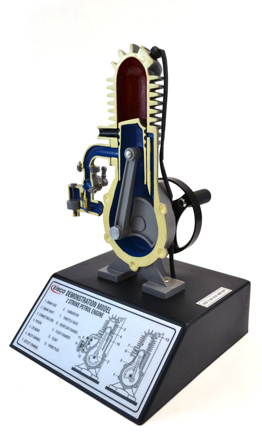 "Eisco Labs 2 Stroke Gasoline Hand Crank Engine Model with Actuating Movable Parts to Demonstrate Engine Basics - 14"" Tall"