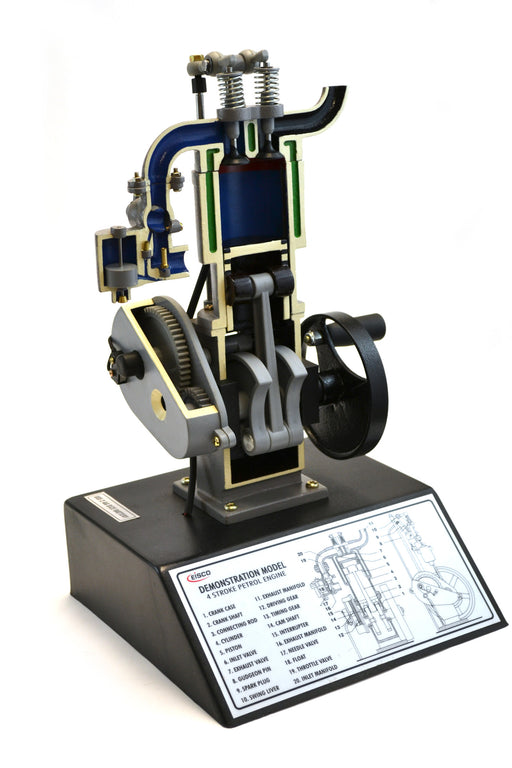 "Eisco Labs 4 Stroke Gasoline Hand Crank Engine Model with Actuating Movable Parts to Demonstrate Engine Basics - 13.75"" Tall"