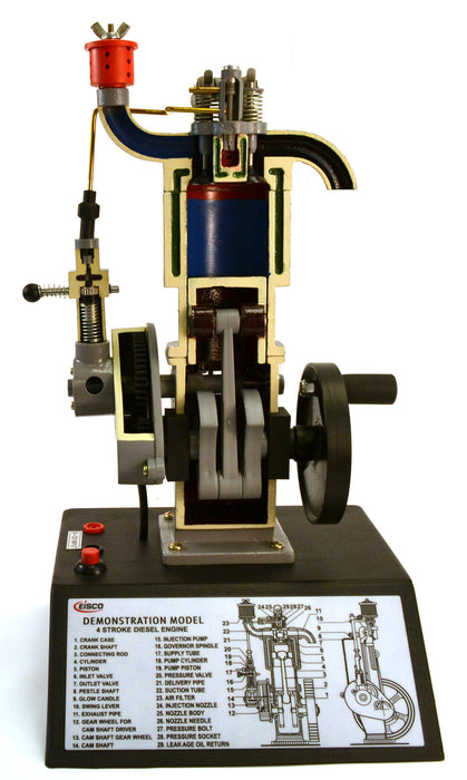 "Eisco Labs 4 Stroke Diesel Hand Crank Model with Actuating Movable Parts to Demonstrate Engine Basics - 16"" Tall"