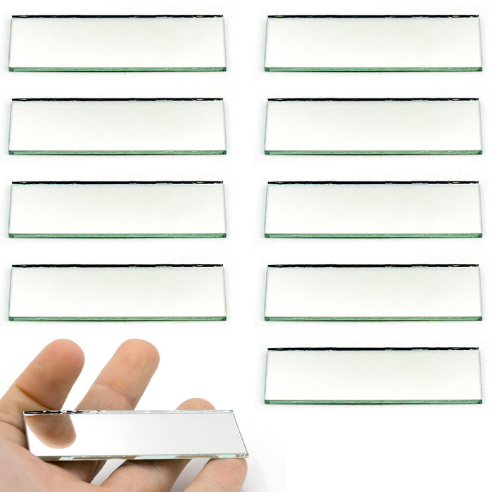 "Rectangular Plano Glass Mirror - Pack of 10 - 3"" x 1"" - 2mm Thick Approx. - Eisco Labs"