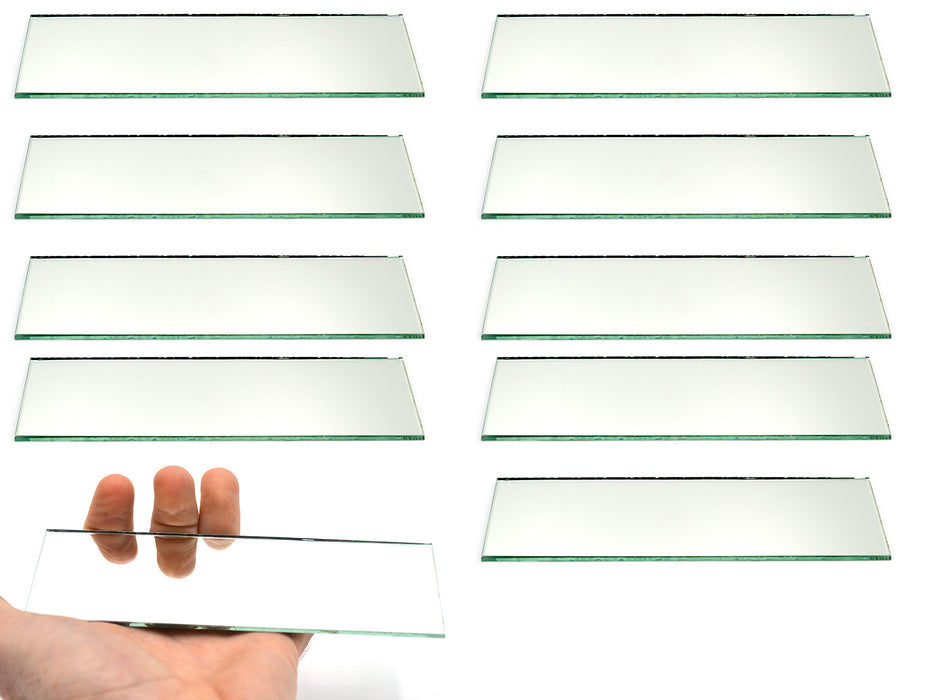 "Rectangular Plano Glass Mirror - Pack of 10 - 6"" x 2"" - 2mm Thick Approx. - Eisco Labs"