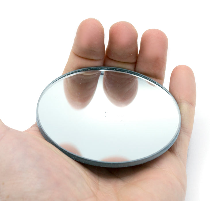 "Round Concave Glass Mirror  - 3"" (75mm) Diameter -  75mm Focal Length - 3mm Thick Approx. - Eisco Labs"