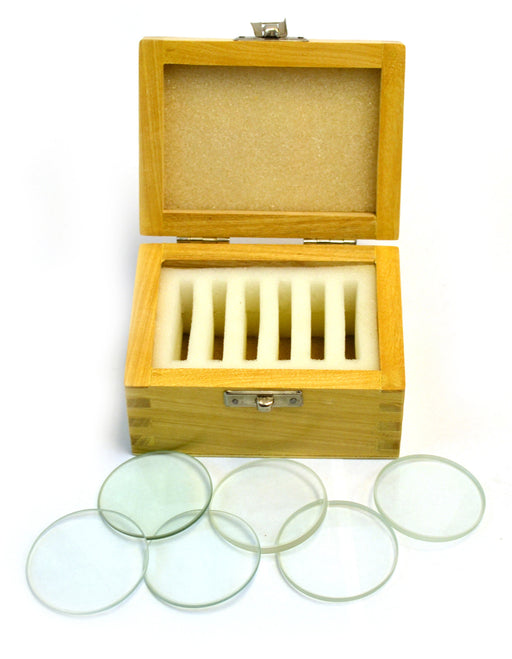 Eisco Labs Glass Lenses Set of Six in Wooden Case - 50 mm dia., 3 Double Convex (20, 30, 50cm FL) and 3 Double Concave (20, 30, 50cm FL)