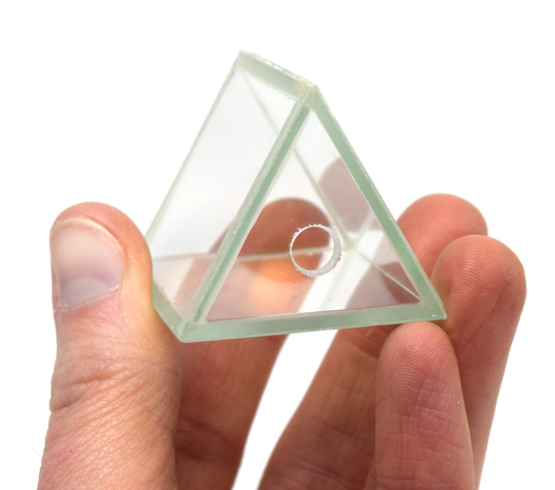 "Hollow Glass Prism, with Stopper, Size 1.5"" x 1.5"" (38x38 mm) - Great for Studying Snells Law of Refraction - Eisco Labs"