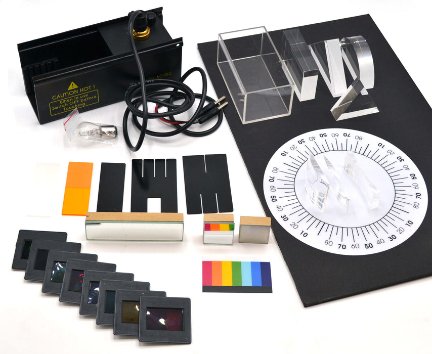 Visible Ray Geometrical Table Top Optics Set - 28 Pieces