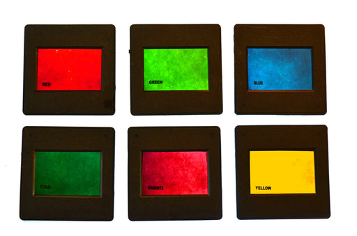 "Eisco Labs RBG/CMY Mounted Color Filters, 2""x2"" (50x50mm) - Red, Blue, Green, Cyan, Magento, and Yellow"