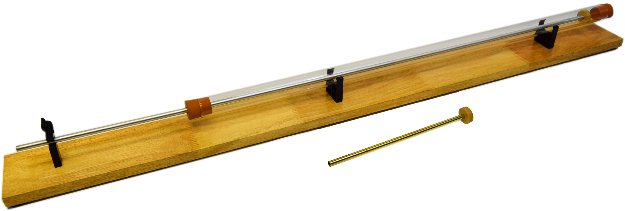 "Kundt's Tube, Unmounted, Glass, Cork Piston, Stable Wooden Base, 33"" Length - Eisco Labs"