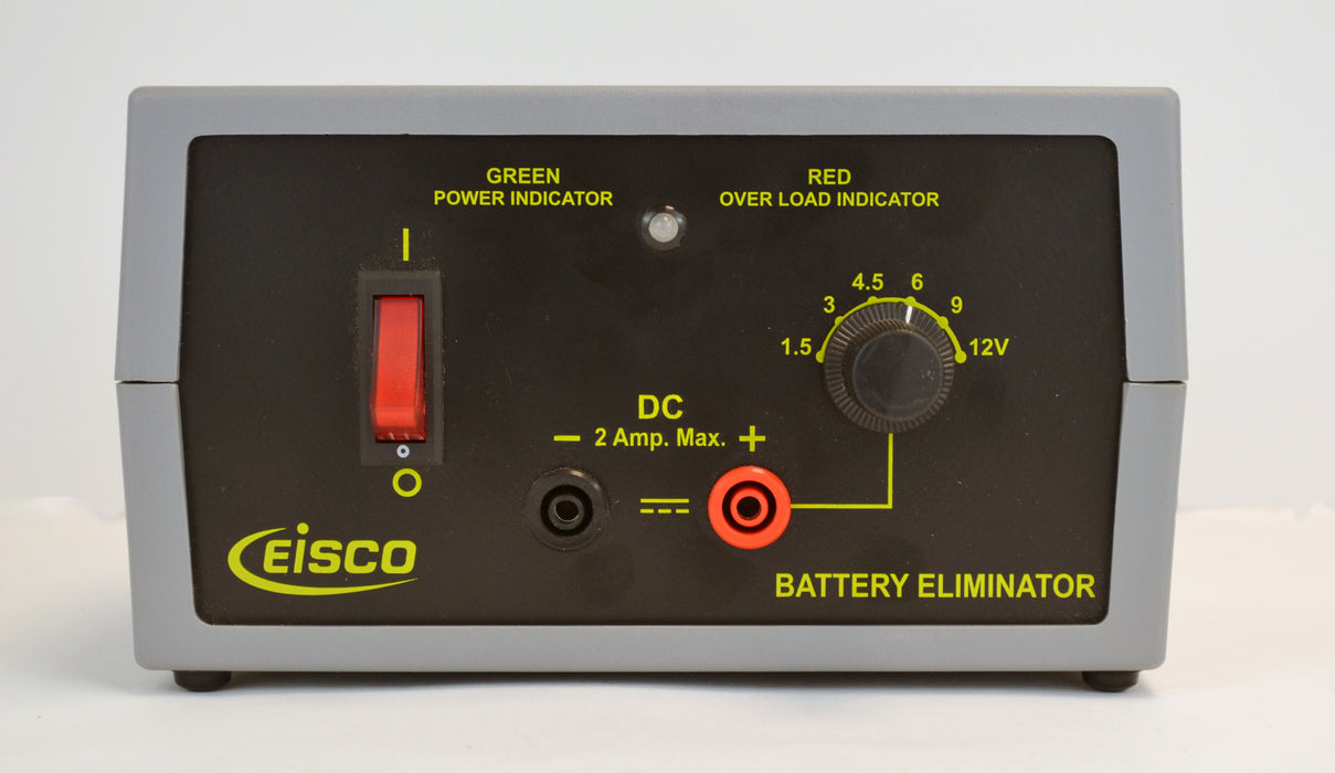 Eisco Labs Battery Eliminator Power Supply, Selectible DC Voltage [1.5, 3, 4.5, 6, 9, 12] at 2 Amps
