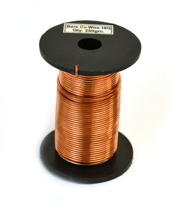 "Eisco Labs Copper Wire, Bare, 80ft Reel, 18 SWG (16/17 AWG) - 0.048"" (1.2 mm) Dia."