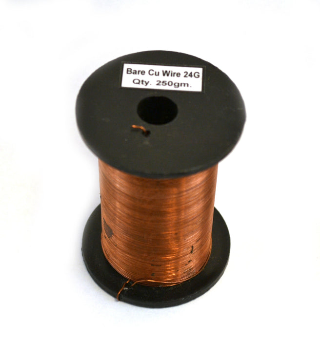 "Eisco Labs Copper Wire, Bare, 375ft Reel, 24 SWG (23/24 AWG) - 0.022"" (0.56 mm) Dia."
