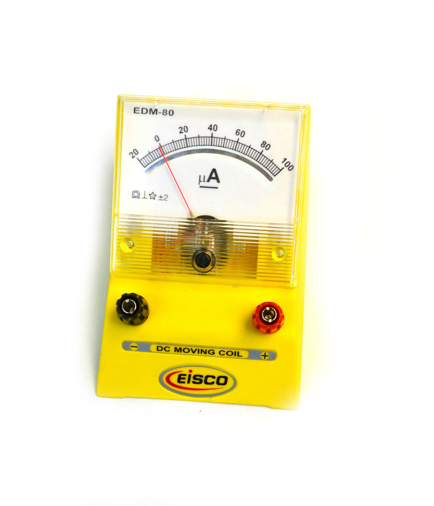 Eisco Labs Analog Ammeter, DC Current Meter, 0 - 100 microamp, 2 microamp resolution