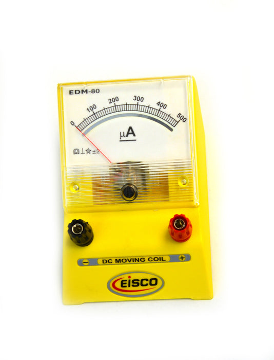 Eisco Labs Analog Ammeter, DC Current Meter, 0 - 500 microamp, 10 microamp resolution