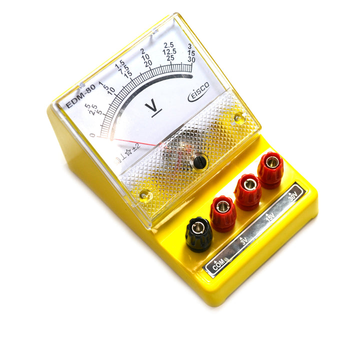 Moving Coil Meters DC, Voltmeter 0 - 3 V, 0-15 V, 0-30 V (Triple)