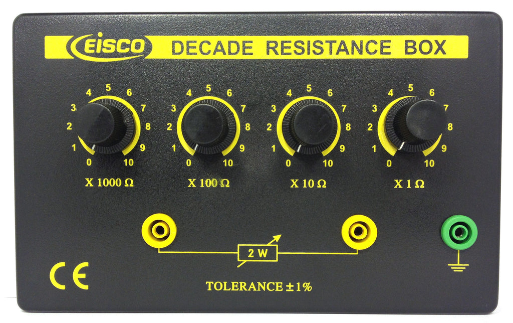 Eisco Labs 4 Decade Resistance Box, Variable from 0 - 11,110 Ohms, 0.5W Resistors (0.5555W Theoretical Max)