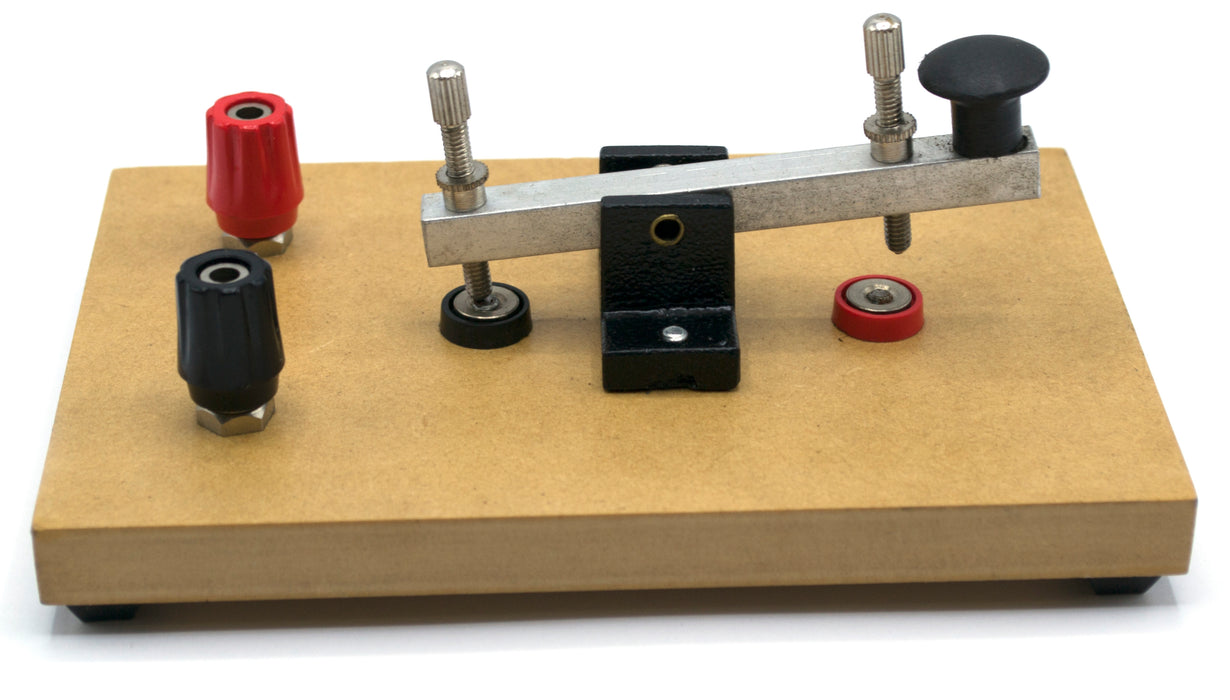 Morse Code Key Mounted on Wooden Base with 4mm Wire Terminals - Eisco Labs