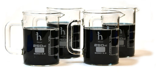 250mL Beaker Mug, Borosilicate Glass, 50mL Graduations - Set of 4